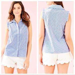 Lilly Pulitzer Lenox Button Down Blouse Top Summer